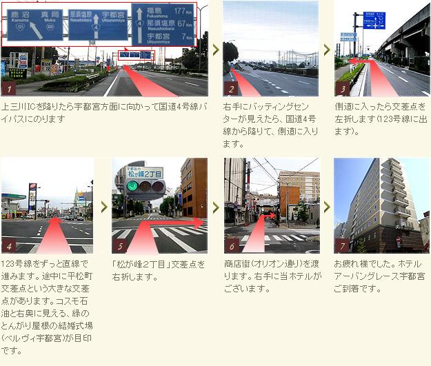 上三川ICからホテルまでのルート